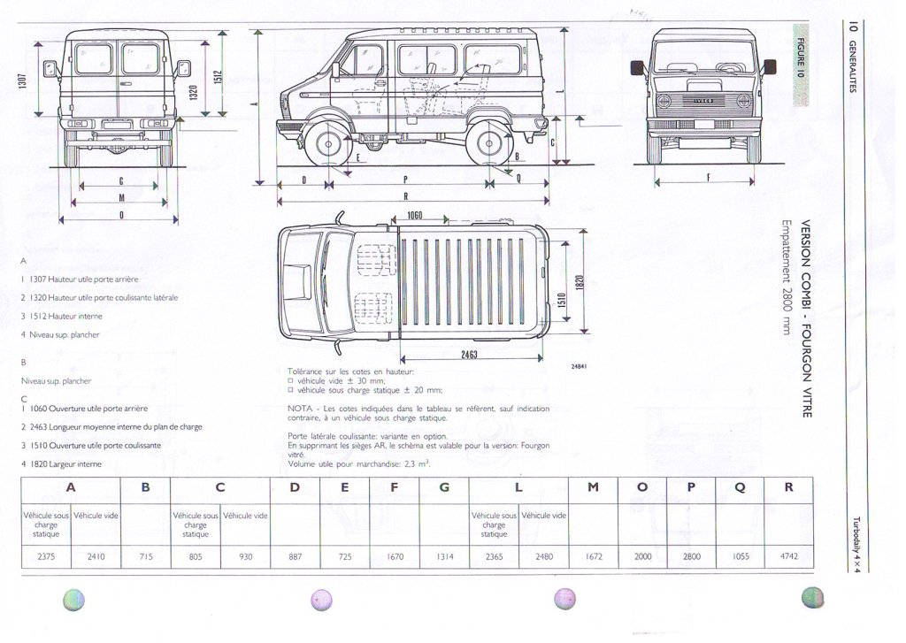 dimensions iveco 35 10 4x4 1989. Black Bedroom Furniture Sets. Home Design Ideas